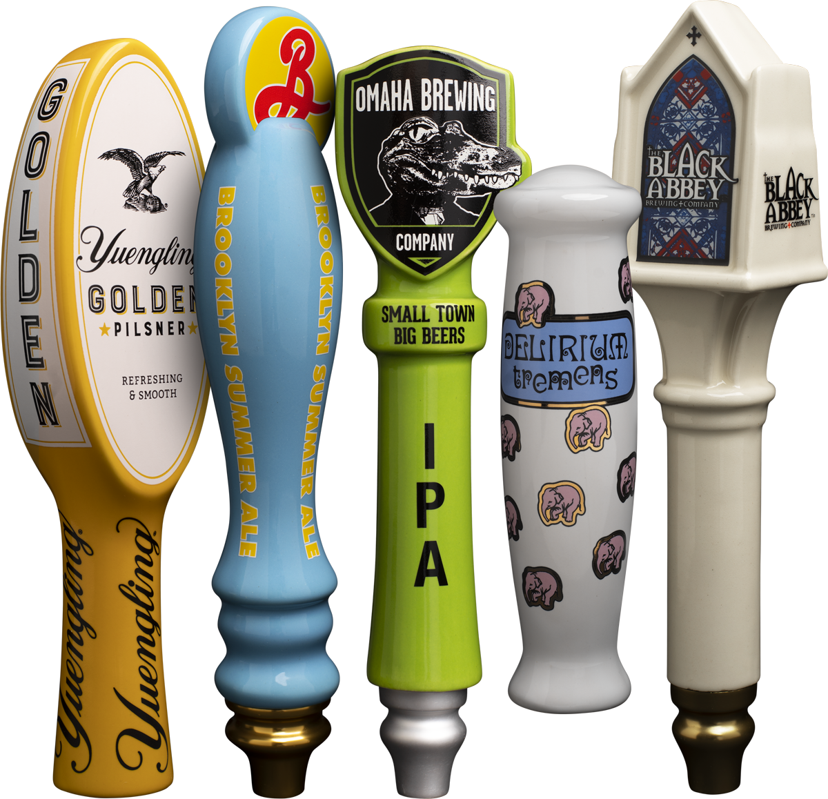 Tap handles of different size and shape